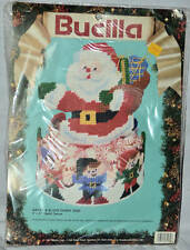Bucilla Christmas Santa & Elves Candy Dish Needlepoint Plastic Canvas Kit #61139