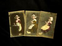 1910's Netherlands Holland Dutch Girl, Lot of 3 Tinted-Colored Photo-Postcards