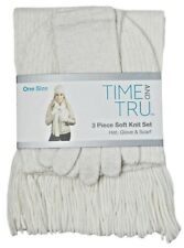 Time and Tru 3 piece soft knit set White Hat Beanie, Glove, and Scarf