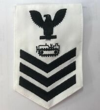 Us Navy White Work Utility Shirt Male Rating Badge Equipment Operator E4 E5 E6
