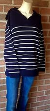 NWT Talbots Navy Harper Sweater Knitted Cotton Rear Sailor Collar Navy/White M