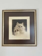 Kurt Meyer Eberhardt Color Etching And Drypoint Mother Cat With Kitten Framed