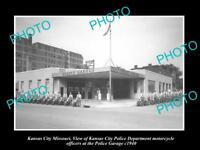 OLD LARGE HISTORIC PHOTO OF KANSAS CITY MISSOURI, POLICE MOTORCYCLE GARAGE c1940