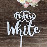 Personalised Acrylic Wedding Cake Topper Mr&Mrs Surname Custom Made Decoration