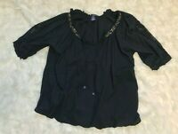 denim 24/7 Blouse Womens Plus Size 28W Black Top Boho Hippie Gold Detail