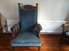 Art Nouveau Style Blue Velvet Chair and Chaise Longue