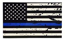 Tattered Blue Line Flag Thin Blue Line Vinyl Sticker Police Sticker