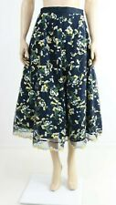 Hobbs Navy Midi Straight Embroidered Floral Casual Evening Skirt UK 10 EUR 38