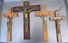+ Group of 4 Older Wood Wall Crucifix Cross + chalice co. (CA#387) Jesus Corpus