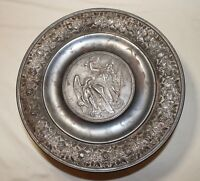 LARGE antique1870 figural silverplate cast iron compote centerpiece tazza bowl