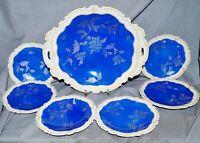 Konfektservice Reichenbach Thüringen, blau, Silberdekor, Schale + 6 Tellerchen