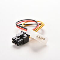4 Pin Molex Male To 6 Pin Pci- Express Pcie Female Power Adapter Cable Cord KW