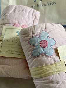 2 Pottery Barn Kids PB Quilted EURO SHAMS Patchwork Girls Pink Floral Blue Back