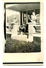 Mom & Children on House Porch-Identified RPPC-Vintage Real Photo Postcard