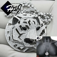 "24""MEN 925 STERLING SILVER 3MM MOON CUT BEAD CHAIN BLING TIGER HEAD PENDANT*SP46"