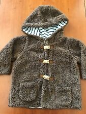 """Baby Boden Brown """"Fur"""" Hooded Toggle Closure Lined Jacket - 12-18 Months"""