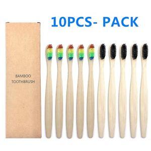 10PCS Colorful Natural Bamboo Toothbrush Set Soft Bristle Charcoal Teeth