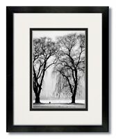 12x16 Black Wood Frame with Clear Glass & Double White/Black Mat for 8x12