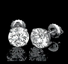 3.50CT ROUND EARRINGS 14K SOLID WHITE GOLD BASKET STUDS BRILLIANT SCREWBACK