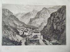 LITHOGRAPHIE  DE GORSE VERS 1850 VUE DES EAUX CHAUDES