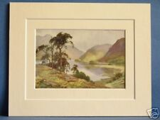 THIRLMERE AND HELVELLYN CUMBRIA VINTAGE DOUBLE MOUNTED HASLEHUST PRINT 10 X 8