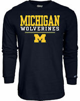 Michigan Wolverines Men's Blue Football Fan Long Sleeve T Shirt