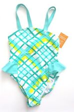 NWT Gymboree DESERT DREAMS 6 Teal Dip Dye Yellow Checked One-Piece Swimsuit Bow!