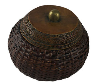 """Woven Wicker  Basket Handmade with Lid Small Brown With Medal Cage Inside 4"""""""