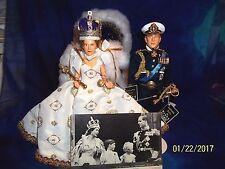 Peggy Nisbet dolls - #P400 QUEEN ELIZABETH II & #P416  PRINCE  PHILLIP & STANDS