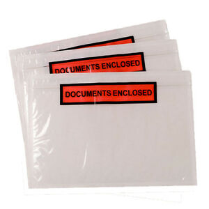 500x A7 PRINTED Document Enclosed Wallets Packing Pouches Envelopes Labels