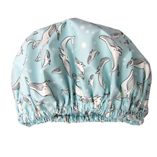 Luxury Shower Cap reusable waterproof washable laminated cotton sea whales