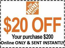 ONE 1X Home Depot Coupon $20 OFF $200 [[Online Use ONLY]] -Very_Fast_Sent_1Sec~~