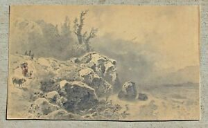 Mystery Artist 20th Century Pencil Drawing Figure with Goats by the Sea