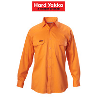Mens Hard Yakka Long Sleeve Cotton Drill Work Shirt Tradie Safety Button Y07500