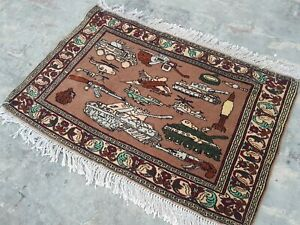 handmade war rug 63x94 cm war rug vegetable dyed Ethnic rug