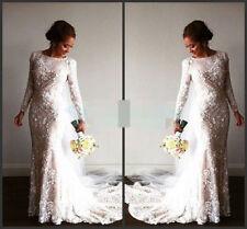 Satin Lace Boat Neck Long Sleeve Wedding Dresses