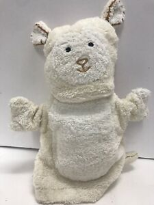 White Lamb Sheep Hand Puppet Washcloth Pottery Barn Kids Plush Pretend Play 8""