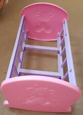 TEDDY BEAR CRADLE COT DOLL BED OR MAGAZINE BOOK RACK CHILDRENS TOY PINK+PURPLE.