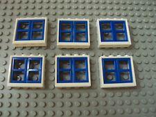 Lego Minifig ~ Lot Of 6 Windows Dark Blue Panel w/White Frames House Cottage