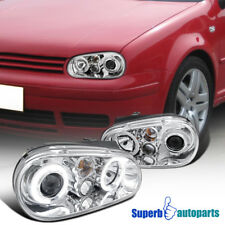 Fit 99-06 VW Golf GTI MK4 Halo Projector Clear Headlights Chrome SpecD Tuning