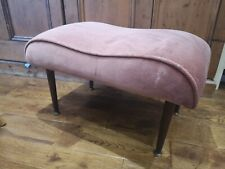Vintage Kidney Shaped Pink Velvet  Foot Stool with Danette Legs