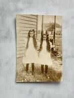 RPPC Edwardian Girls Twins Sisters Long Hair Original Antique Photograph 1910s