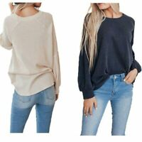 Loose Long Sleeve Women's Tops Fashion T-shirt Casual Blouse Solid Sweater
