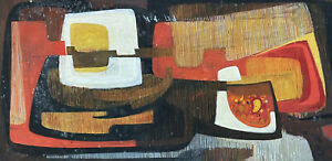 CLAUDE LAGOUCHE (1943-2020) ORIGINAL 1970'S FRENCH ABSTRACT CUBIST PAINTING