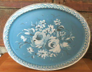 Old Vintage Metal Blue & White Rose Toleware Oval Button Pantry Box Tin 14 1/2""