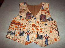 Children's Boys or Girls Fall Pumpkin Holiday Vest Handmade - Size 4 or 5
