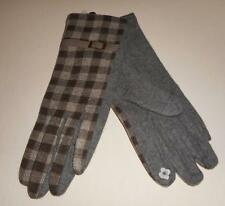 BROWN/GREY CASHMERE WINTER GLOVES WITH METAL LEATHER BUCKLE DECORATIVE DETAIL