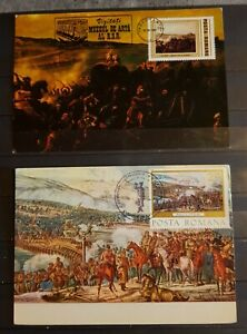 ROMANIA THE GREAT BATTLES AND THE RULERS LOT 6 MAXIM CARDS