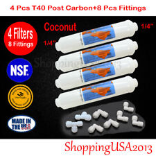 "4 Pc Omnipure T40 1/4"" Post Inline Coconut Carbon Filter 10X2"" Ro+8 Fittings"