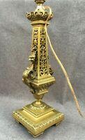 Big heavy antique french Empire gilded bronze lamp base 19th century chimera 7lb